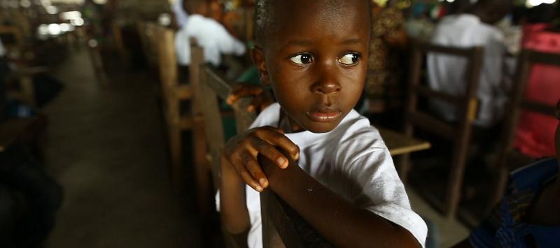 Six-year-old Ebola survivor Patrick Poopei attends Sunday service at his local church in Paynesville