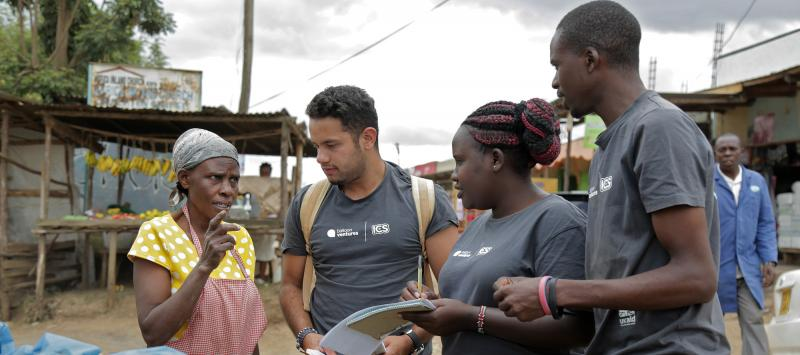 Entrepreneur Sarah Wanjiku talks to Balloon Ventures volunteers in Njoro, Kenya