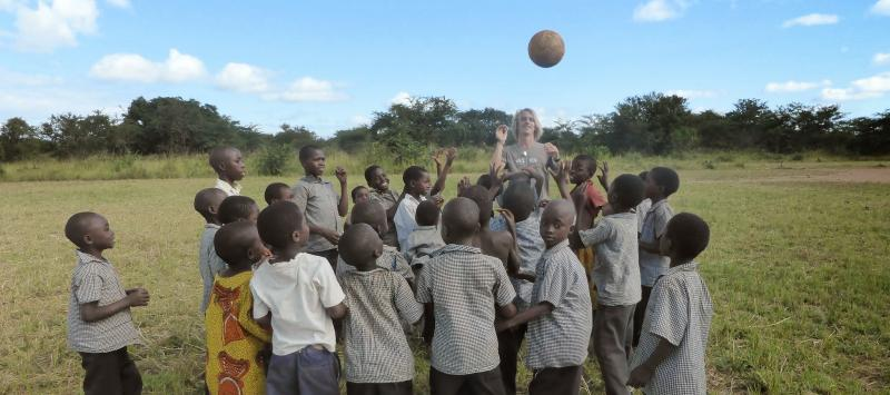 Playing football in Zambia