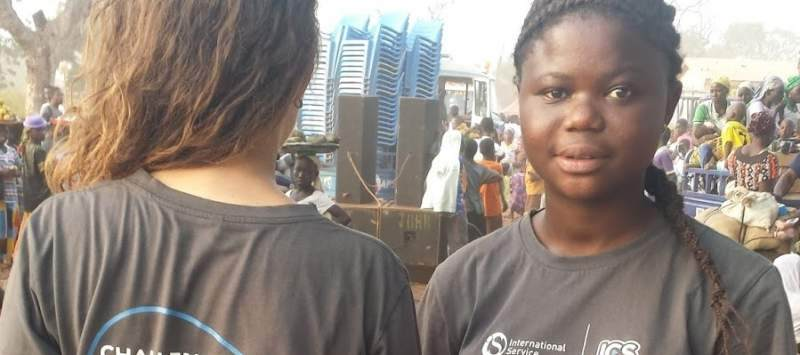 Ghanaian volunteer Josephine thinks of UK volunteer Keira as a sister