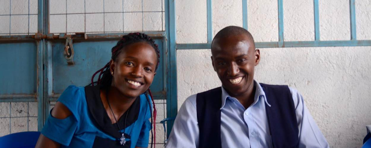 two people smiling